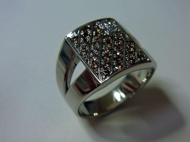 PT900 プラチナ ブラウンダイヤ デザインリング