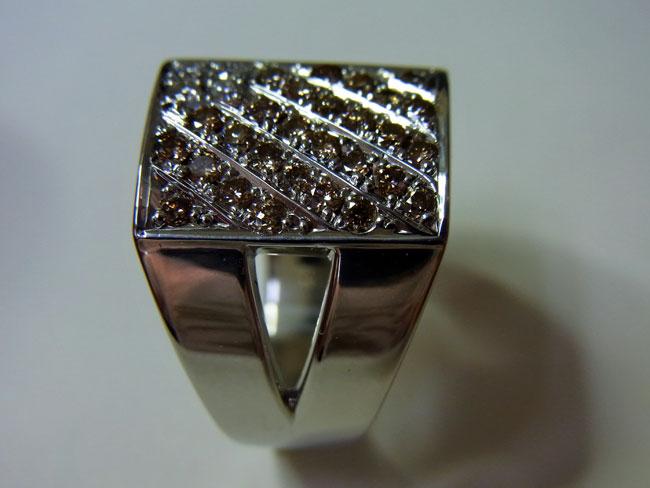 PT900 プラチナ ブラウンダイヤ デザインリング 11